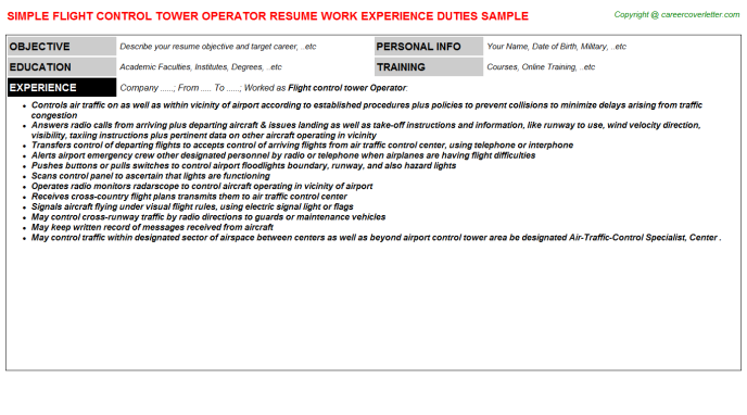 Flight control tower Operator Resume Template