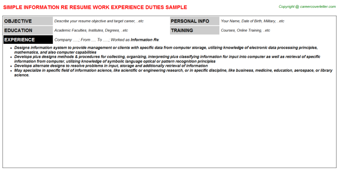 25b information technology specialist job resumes examples