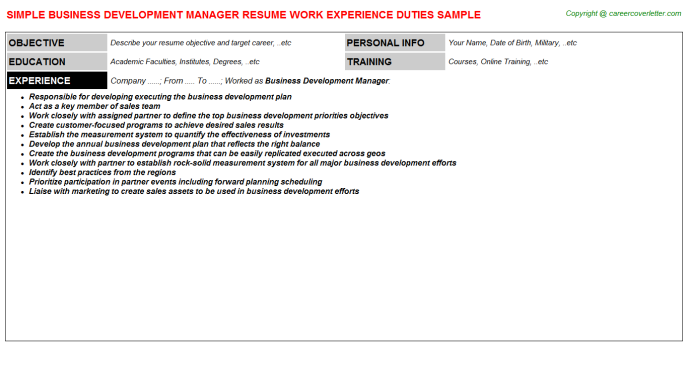 Business Development Manager Job Resume Template