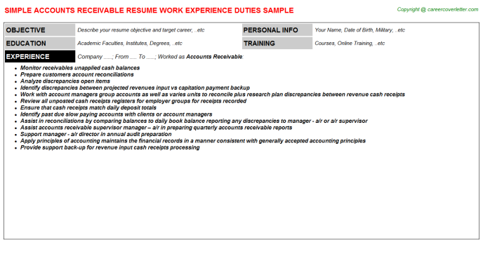 Accounts Receivable Job Resume Template