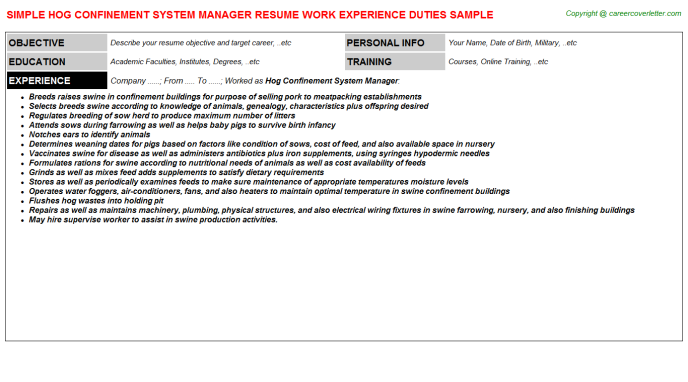 hog confinement system manager resume template