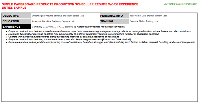 Paperboard Products Production Scheduler Job Resume Template