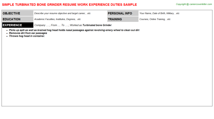 turbinated bone grinder resume template