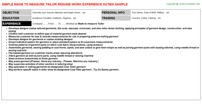 made to measure tailor job resume sample