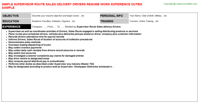 Supervisor Route Sales Delivery Drivers Resume Template