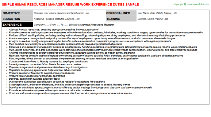 Human Resources Manager Resume Sample Template