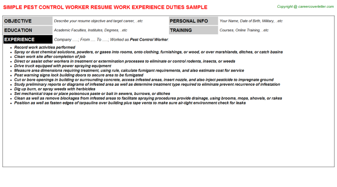 Pest Control Worker Resume Template