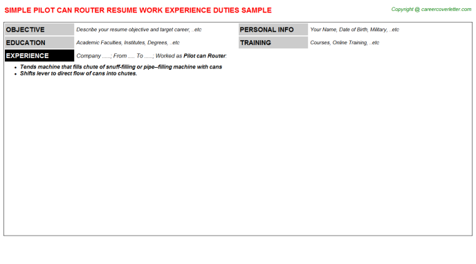 Pilot Can Router Resume Template
