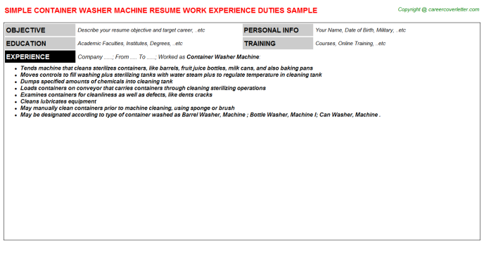Container Washer Machine Resume Template