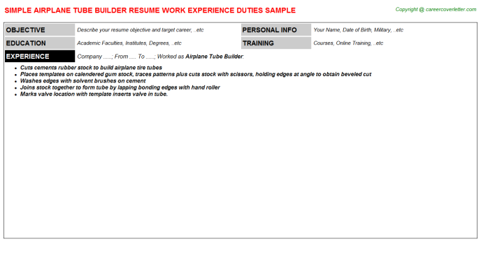Airplane Tube Builder Resume Sample Template