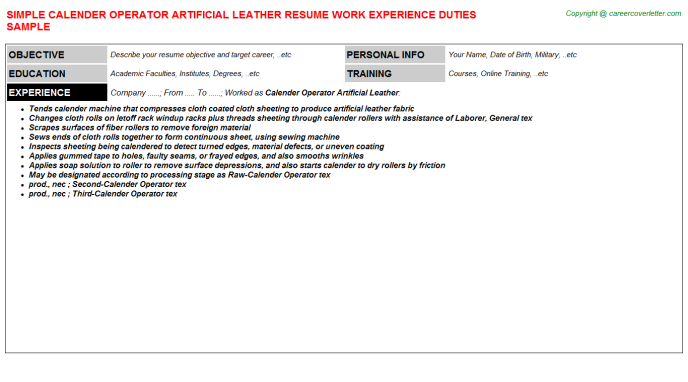 Calender Operator Artificial Leather Resume Template