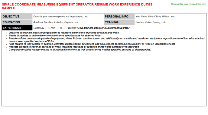 Coordinate Measuring Equipment Operator Resume Template