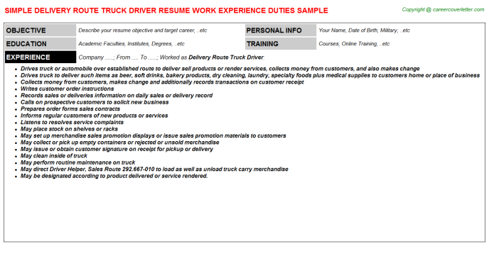 Delivery Route Truck Driver Resume Template