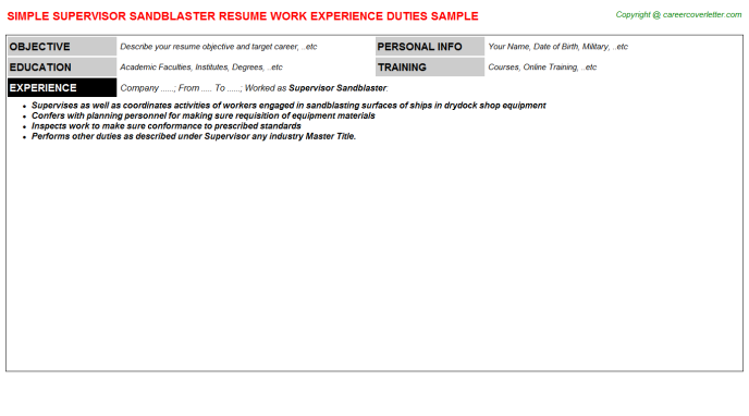 supervisor sandblaster resume template