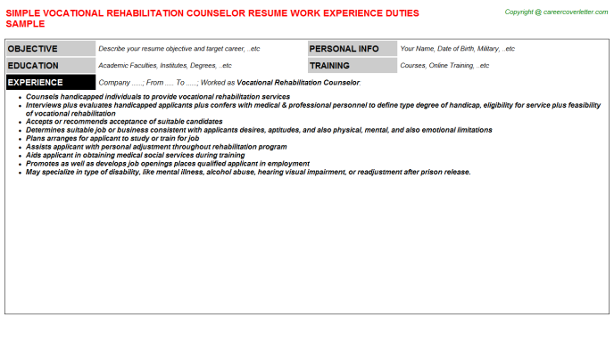 Vocational Rehabilitation Counselor Job Resume Template