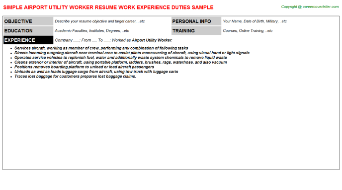 Airport Utility Worker CV Resume Example