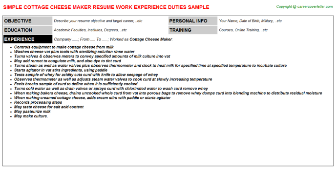 cottage cheese maker resume template