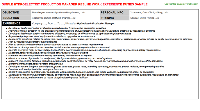 Hydroelectric Production Manager Resume Sample