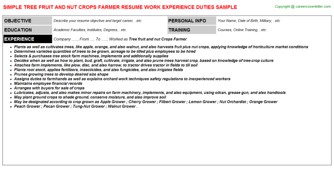 Tree fruit and nut Crops Farmer Resume Template