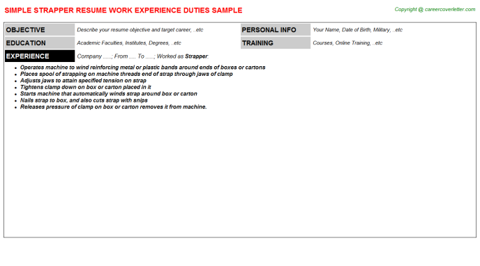 Strapper Job Resume Template
