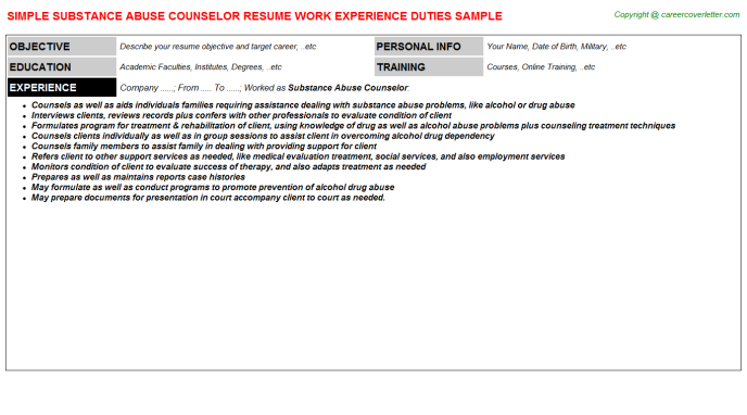 substance abuse counselor job resume sample