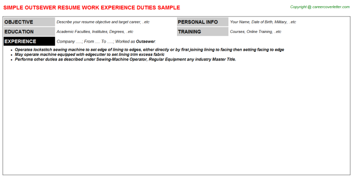 Outsewer Resume Sample Template