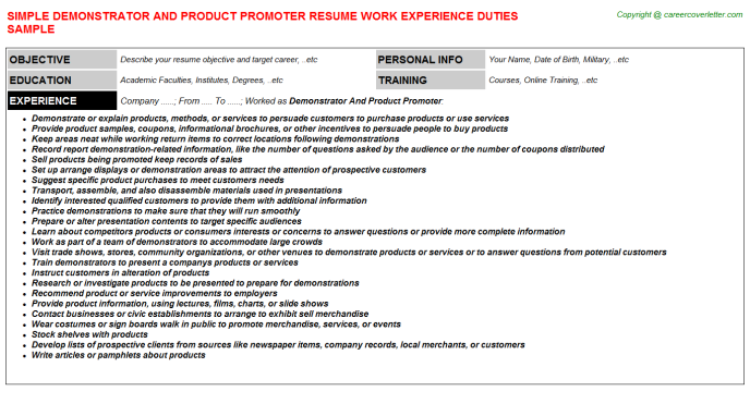 Demonstrator And Product Promoter Job Resume Template