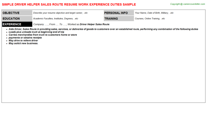 Driver Helper Sales Route Resume Template