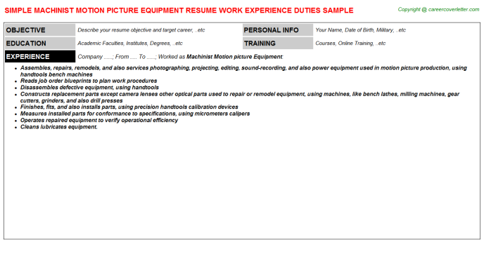 Machinist Motion Picture Equipment Resume Template