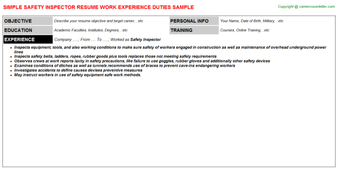 Safety Inspector Resume Template