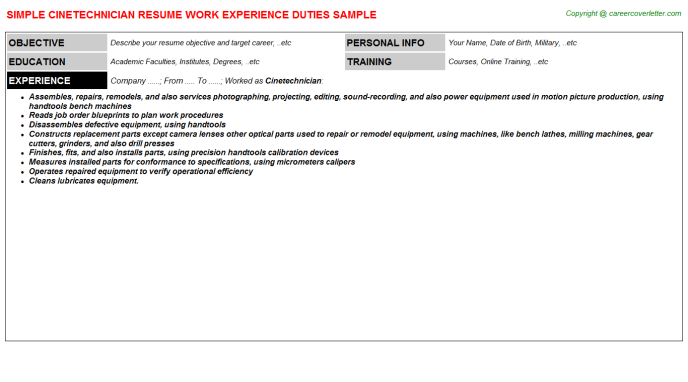 Cinetechnician Job Resume Template