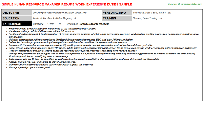 Human Resource Manager Resume Sample Template