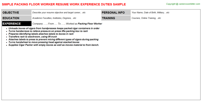 packing floor worker resume template