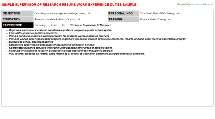 supervisor of research resume