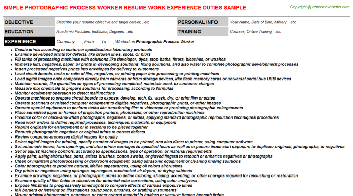Photographic Process Worker Job Resume Template