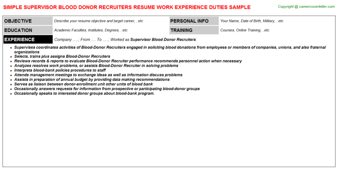 Supervisor Blood donor Recruiters Job Resume Template