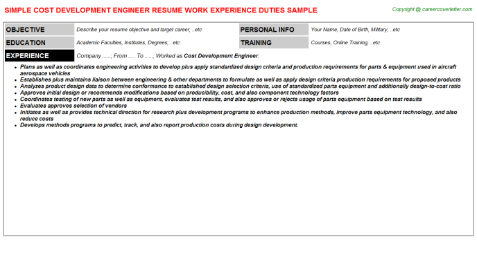 Cost Development Engineer Job Resume Template