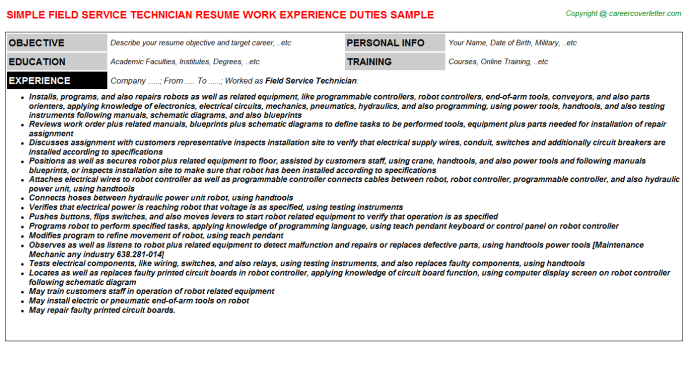 Field Service Technician Job Templates