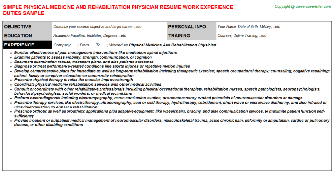 Physical Medicine And Rehabilitation Physician Resume Template