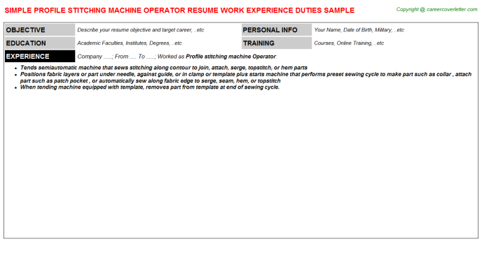 profile stitching machine operator resume template