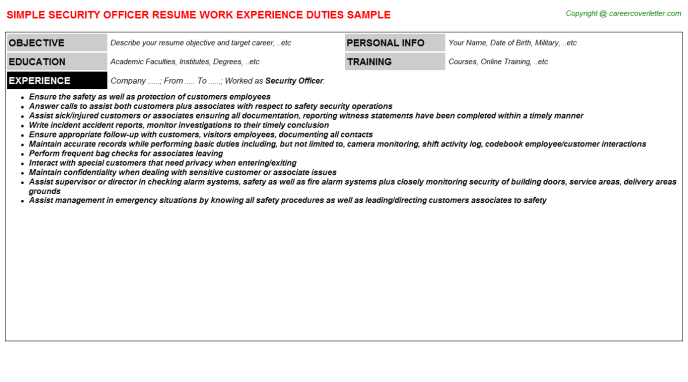 Security Officer Resume Sample Template