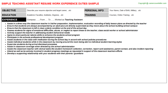 Teaching Assistant Resume Sample Template