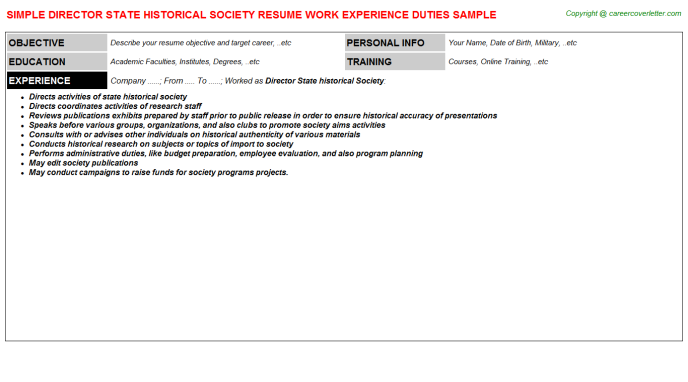 Director State historical Society Resume Template