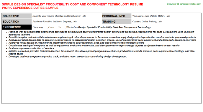 Design Specialist Producibility Cost And Component Technology Job Resume Template
