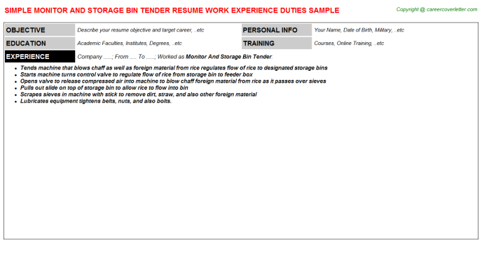 monitor and storage bin tender resume template