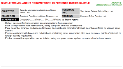 Travel Agent Job Resume Template