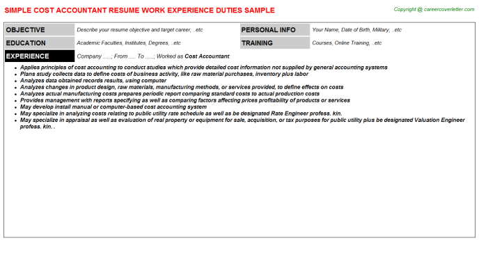 Cost Accountant Resume Sample Template