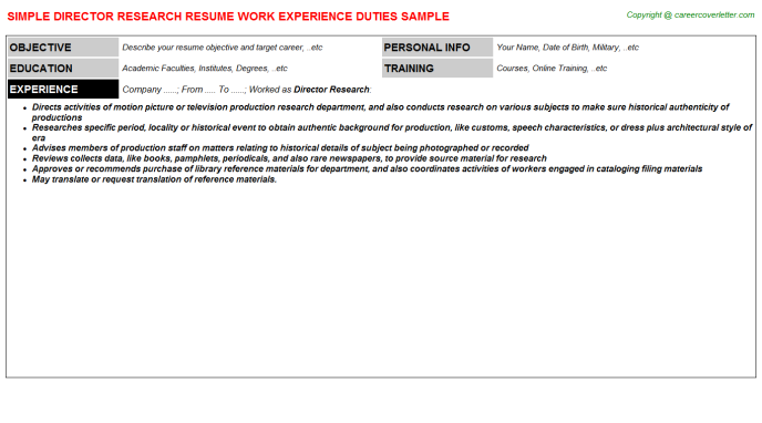 Director Research Resume Template