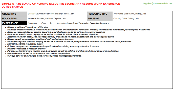State Board Of Nursing Executive Secretary Resume Template
