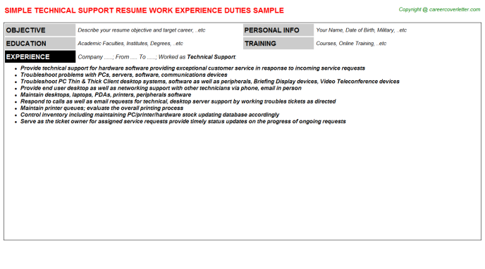 Technical Support Resume Sample Template